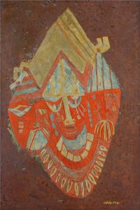 African Masks 2, an unpolished lacquer painting by Nguyen Thi Mai