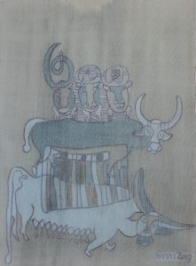 Buffalo Family, silk painting by Nguyen Thi Mai