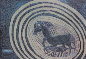 Cantering Horse, an unpolished lacquer painting by Nguyen Thi Mai