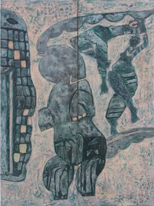 Dancing Elephant, an unpolished lacquer painting by Nguyen Thi Mai