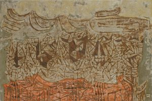 Five Masked Faces, an unpolished lacquer painting by Nguyen Thi Mai