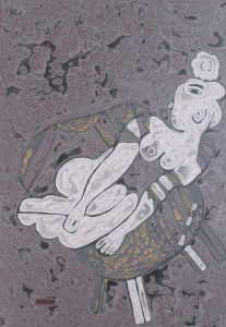 Her Chair 05, an acrylic on canvas painting by Nguyen Thi Mai