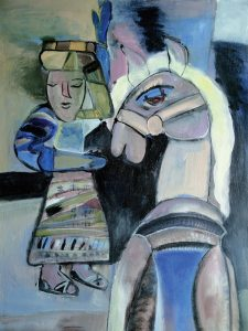 Lady & Horse, an acrylic painting by Nguyen Thi Mai