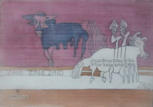 Modern Buffalo 02, silk painting by Nguyen Thi Mai
