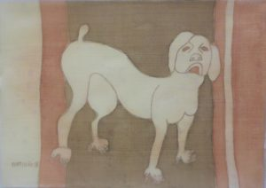Pooch 002, silk painting by Nguyen Thi Mai
