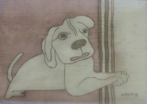 Pooch 003, silk painting by Nguyen Thi Mai