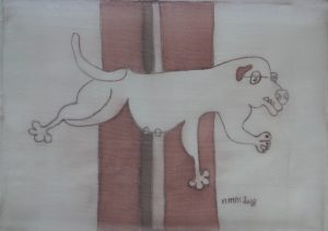 Pooch 005, silk painting by Nguyen Thi Mai
