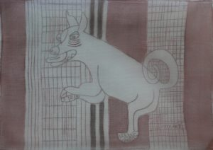 Pooch 006, silk painting by Nguyen Thi Mai