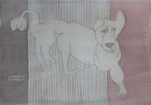 Pooch 008, silk painting by Nguyen Thi Mai