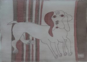 Pooch 009, silk painting by Nguyen Thi Mai