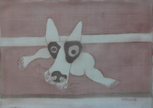 Pooch 012, silk painting by Nguyen Thi Mai