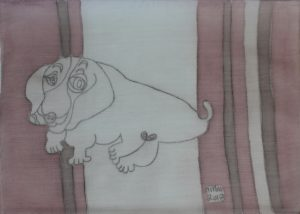 Pooch 014, silk painting by Nguyen Thi Mai