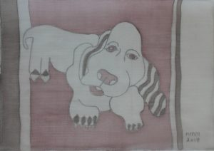 Pooch 016, silk painting by Nguyen Thi Mai