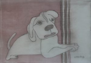 Pooch 017, silk painting by Nguyen Thi Mai