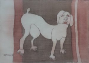 Pooch 018, silk painting by Nguyen Thi Mai