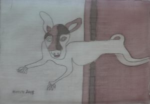 Pooch 020, silk painting by Nguyen Thi Mai