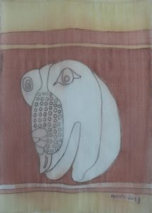 Pooch 024, silk painting by Nguyen Thi Mai