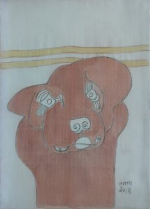 Pooch 025, silk painting by Nguyen Thi Mai