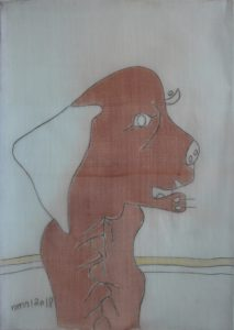 Pooch 026, silk painting by Nguyen Thi Mai