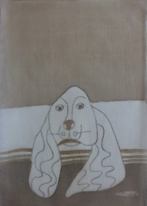 Pooch 027, silk painting by Nguyen Thi Mai