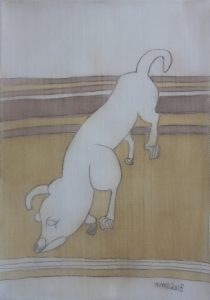 Pooch 029, silk painting by Nguyen Thi Mai