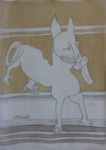 Pooch 030, silk painting by Nguyen Thi Mai