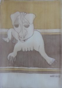 Pooch 031, silk painting by Nguyen Thi Mai