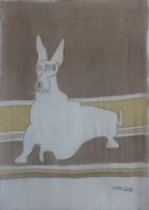 Pooch 034, silk painting by Nguyen Thi Mai