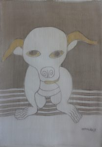 Pooch 035, silk painting by Nguyen Thi Mai