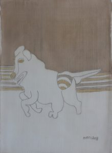 Pooch 041, silk painting by Nguyen Thi Mai