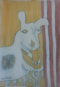Pooch 048, silk painting by Nguyen Thi Mai