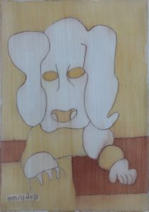 Pooch 049, silk painting by Nguyen Thi Mai