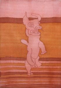 Pooch 057, silk painting by Nguyen Thi Mai