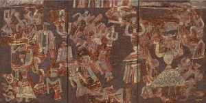 Puppet Dance 3, an unpolished lacquer painting by Nguyen Thi Mai