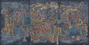 Puppet Dance 5, an unpolished lacquer painting by Nguyen Thi Mai
