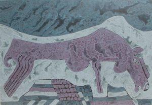 Raging Stallion, acrylic painting by Nguyen Thi Mai