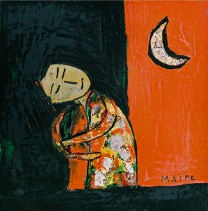 Resting Child, a lacquer painting by Nguyen Thi Mai