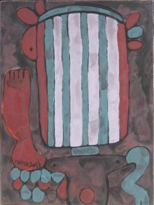 Three Wise Monkeys 18, an acrylic painting by Nguyen Thi Mai