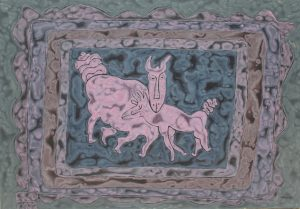 Zodiac Goat, an acrylic on canvas painting by Nguyen Thi Mai