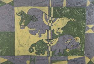 Zodiac Pig, an acrylic on canvas painting by Nguyen Thi Mai