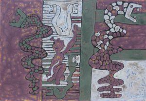 Zodiac Snake, an acrylic on canvas painting by Nguyen Thi Mai