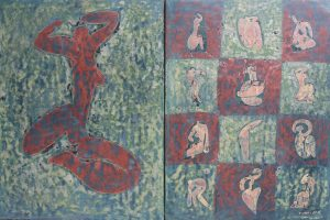 Ancient Yoga, an unpolished lacquer painting by Nguyen Thi Mai