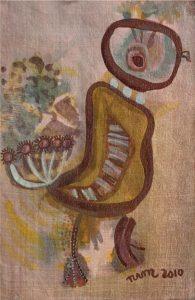 Birdman, a pastel on silk painting by Nguyen Thi Mai