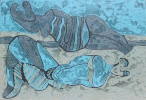 Blue Ladies, an acrylic painting by Nguyen Thi Mai