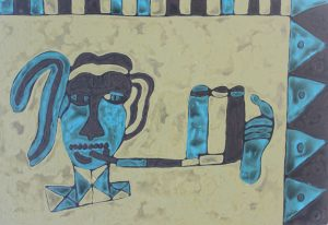 Blue Smoke, an acrylic on canvas painting by Nguyen Thi Mai