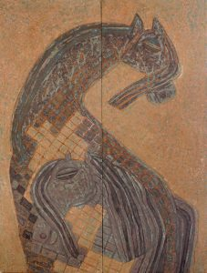 Brown Horses, an unpolished lacquer painting by Nguyen Thi Mai
