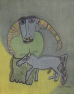 Buffalo & Horse, a silk painting by Nguyen Thi Mai