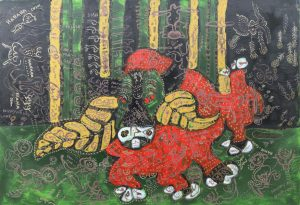 December Ox, acrylic painting by Nguyen Thi Mai