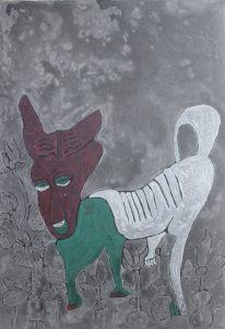 Dog 23, acrylic painting by Nguyen Thi Mai