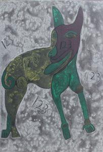 Dog 25, acrylic painting by Nguyen Thi Mai